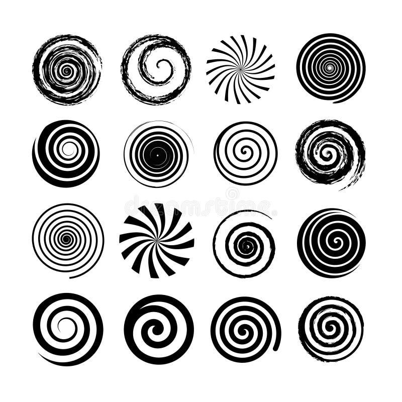 Reeks spiraal en wervelingsmotieelementen Zwarte geïsoleerde voorwerpen, pictogrammen Verschillende borsteltexturen, vectorillust vector illustratie