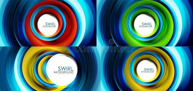 Reeks spiraalvormige achtergronden van de wervelingslijn royalty-vrije illustratie