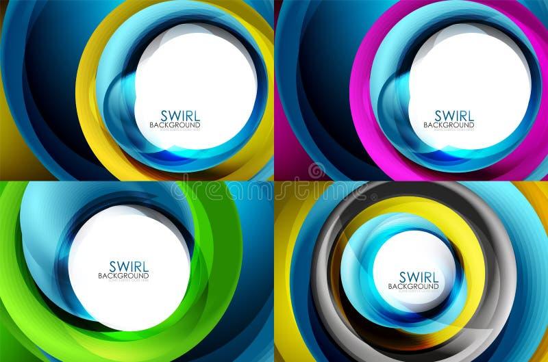 Reeks spiraalvormige achtergronden van de wervelingslijn vector illustratie