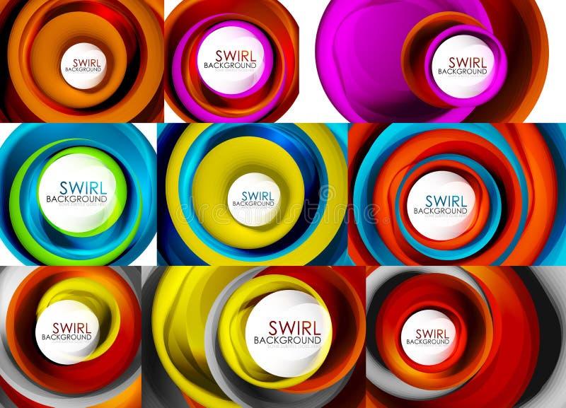 Reeks spiraalvormige van wervelings stromende lijnen 3d vector abstracte ontwerpen als achtergrond Roterende conceptenideeën vector illustratie