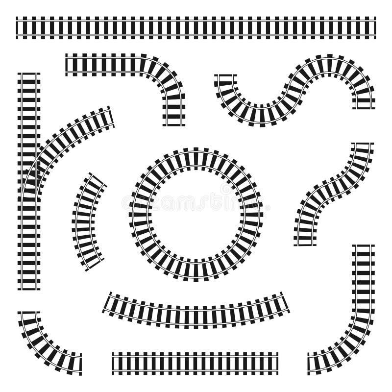 Reeks spoorwegsporen in verschillende vormen, rechtstreeks en krommen, draaien en cirkels Zwarte spoorwegsporen en dwarsbalken vector illustratie