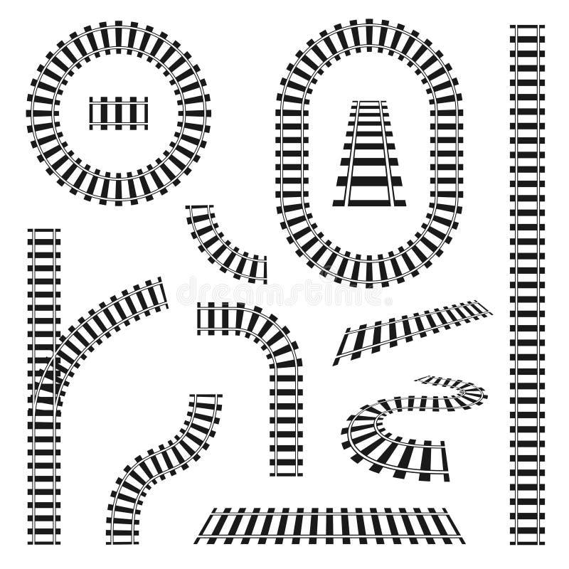 Reeks spoorwegsporen in verschillende vormen, rechtstreeks en krommen, draaien en cirkels Zwarte spoorwegsporen en dwarsbalken stock illustratie