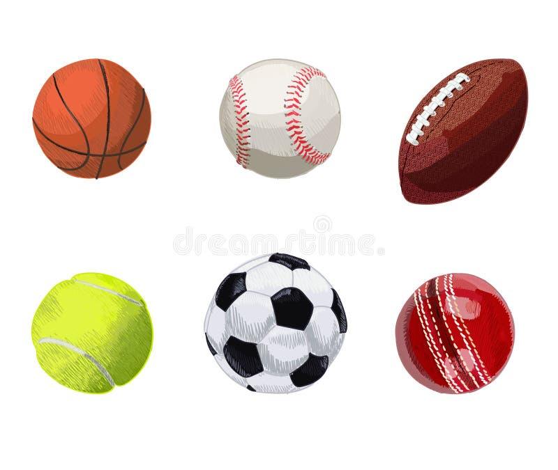 Reeks sportballen Hand getrokken vectorillustratie Basketbal, honkbal, rugbybal, tennisbal, voetbalbal, veenmol stock illustratie