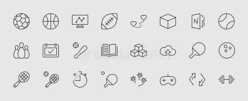 Reeks sportenballen, hobbys, pictogrammen van de vermaak de vectorlijn Het bevat symbolen van voetbal, basketbal, het werpen stock illustratie