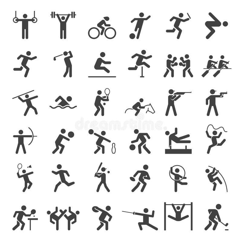 Reeks sportpictogrammen stock illustratie