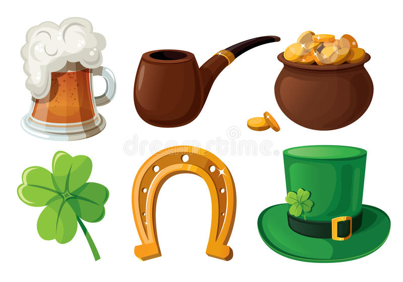 Reeks St. Patrick pictogrammen van de Dag. royalty-vrije illustratie