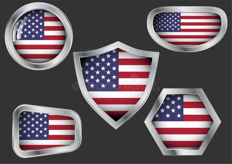 Reeks staalkentekens met vlag van de V.S. vector illustratie