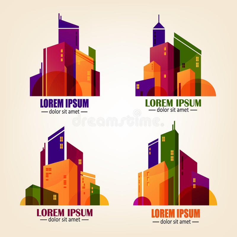 Reeks stadsemblemen in vlak ontwerp Vector kleurrijke gebouwenpictogrammen op achtergrond vector illustratie