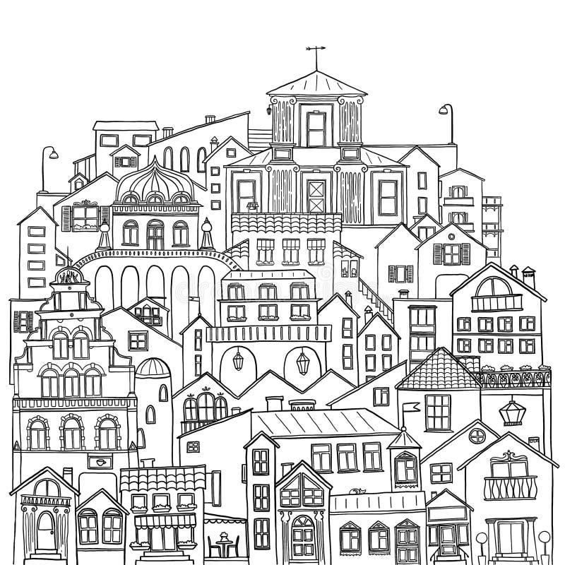 Reeks stadsgebouwen, huizen en straten Zwarte contourillustratie op witte achtergrond stock illustratie