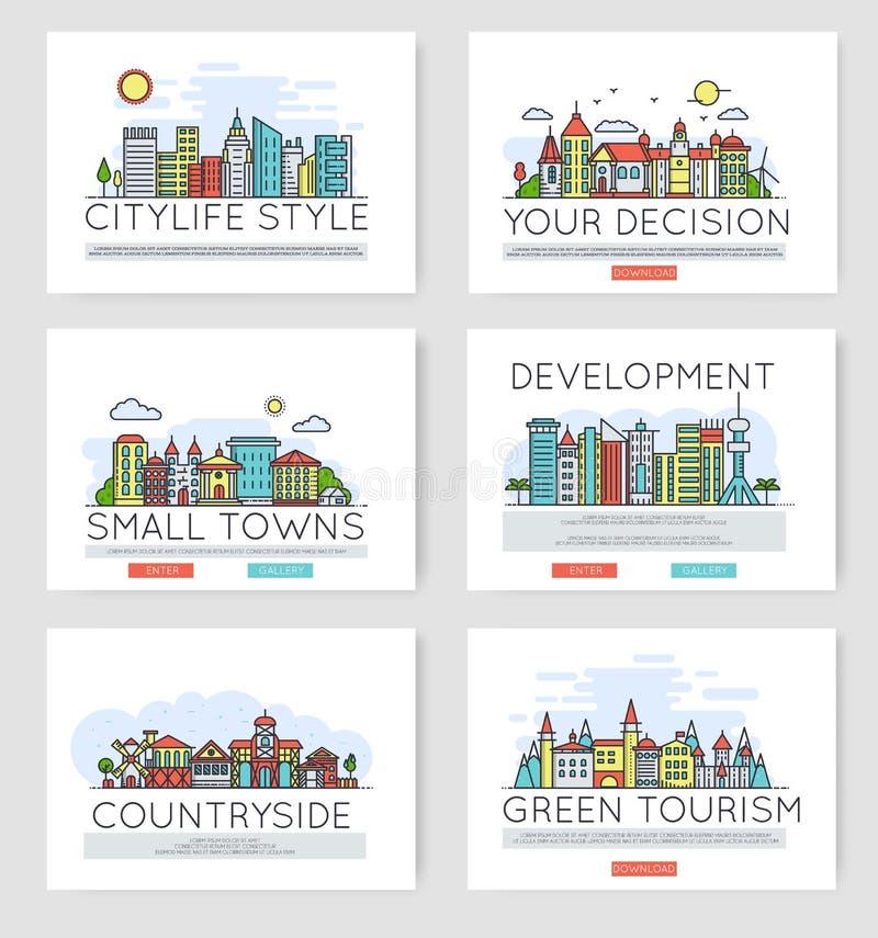 Reeks stadshorizonnen en verschillende gebouwen in de voorsteden in horizon Dun het ontwerpconcept van de lijn vectorillustratie stock illustratie