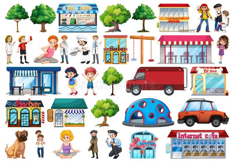 Reeks stadsmensen en voorwerpen vector illustratie