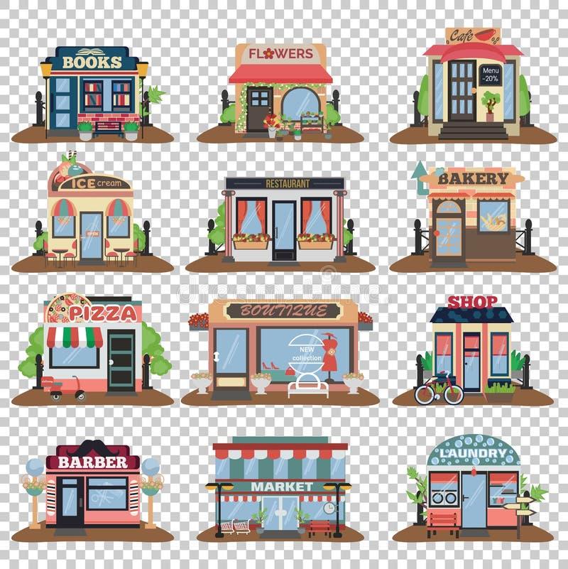 Reeks stadsopenbare gebouwen royalty-vrije illustratie