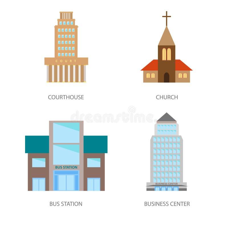 Reeks stedelijke gebouwen in een vlakke stijl Gerechtsgebouw, kerk, busstation en commercieel centrum Vector, illustratie binnen vector illustratie