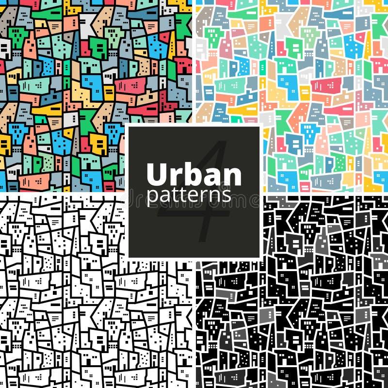 Reeks stedelijke patronen Versie met steekproeftekst royalty-vrije illustratie