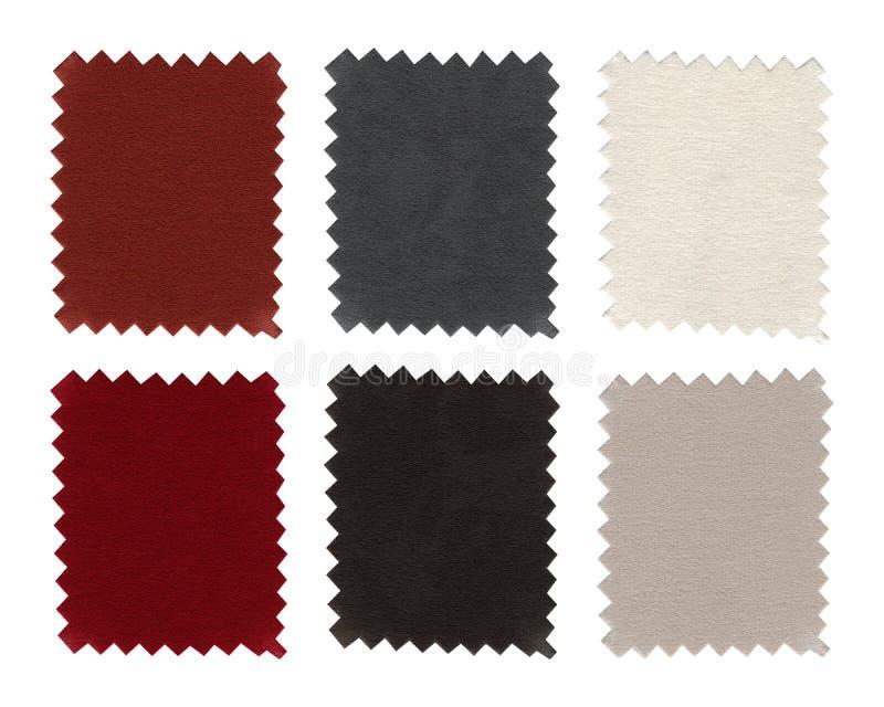 Reeks steekproeven van het stoffenmonster, stukkentextuur De kleurenschemaaarde stemt stof met witte, grijze, bruine, beige en zw stock afbeeldingen