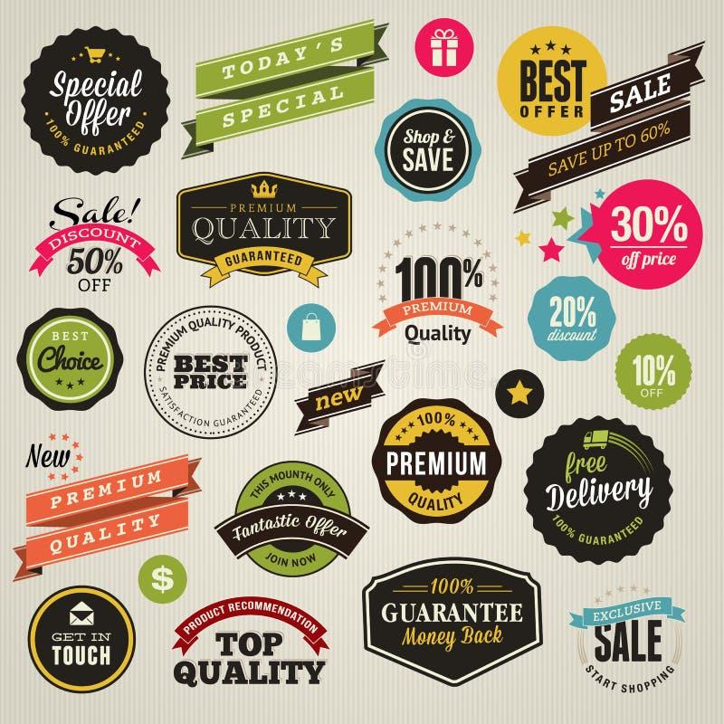 Reeks stickers en linten vector illustratie
