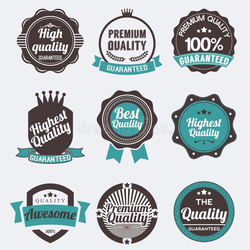 Download Reeks stickers en linten stock illustratie. Illustratie bestaande uit gewaarborgd - 39100730