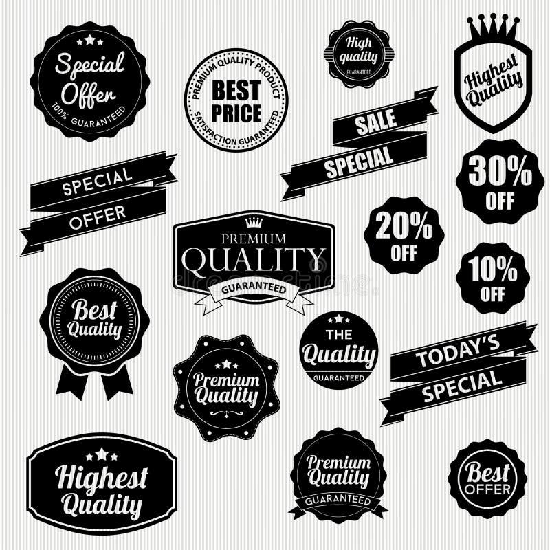 Download Reeks stickers en linten stock illustratie. Illustratie bestaande uit aanbeveling - 39101491