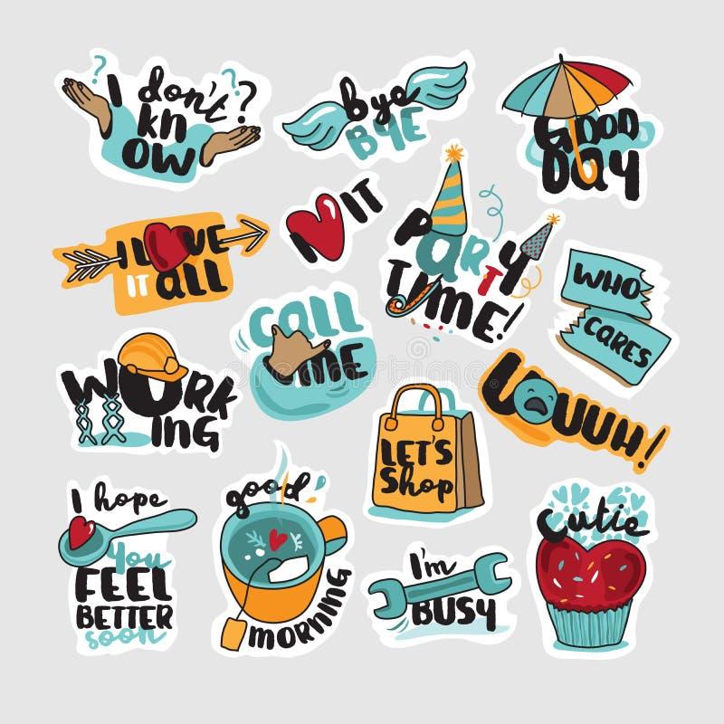 Reeks stickers en tekens voor dagelijkse mededeling vector illustratie