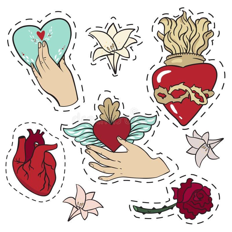 Reeks stickers in liefdeemoties, hart, bloemen over witte achtergrond royalty-vrije illustratie