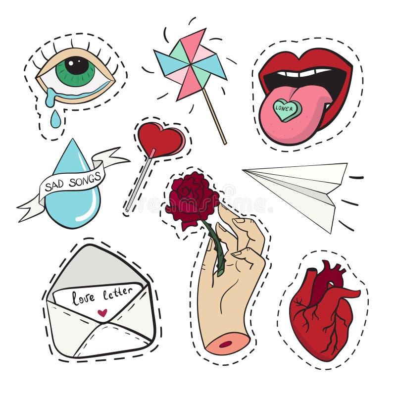 Reeks stickers in liefdeemoties, hart, lippen, scheuren, brief, document vliegtuig over witte achtergrond stock illustratie
