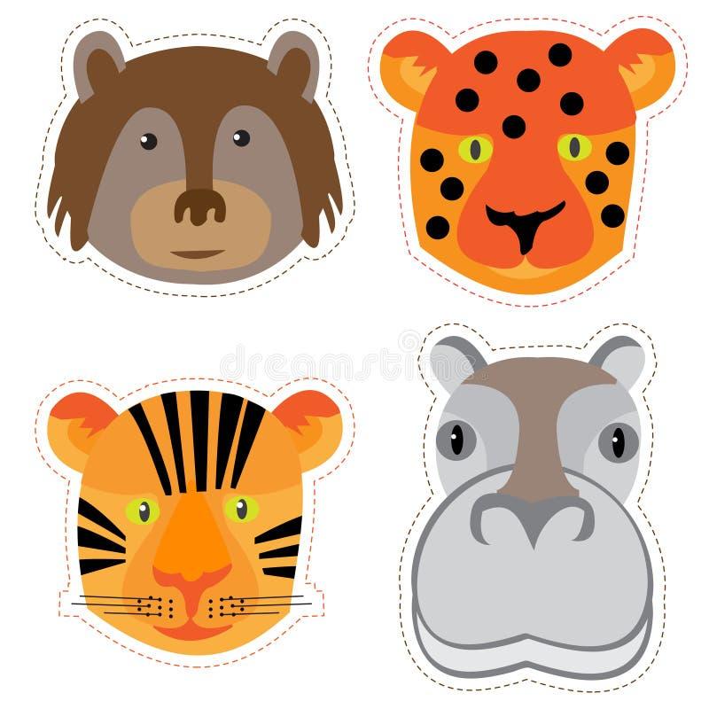 Reeks stickers met de hoofden van dieren in Krabbelstijl op whi stock illustratie