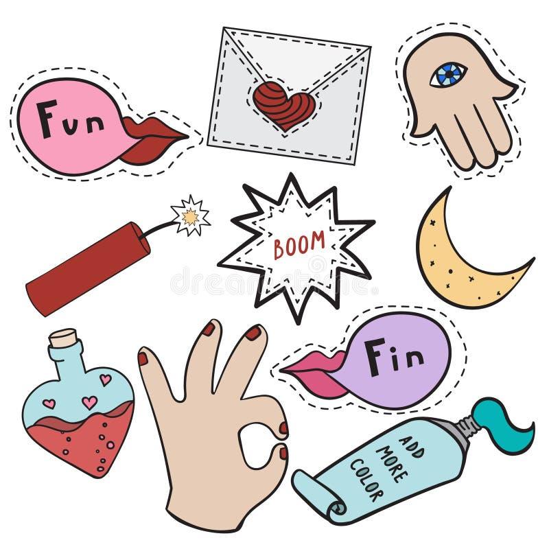 Reeks stickers met handen, envelop, maan, lippen over witte achtergrond royalty-vrije illustratie