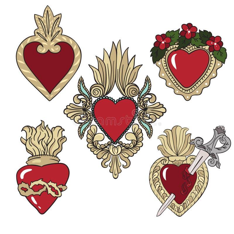 Reeks stickers met heraldische harten over witte achtergrond vector illustratie