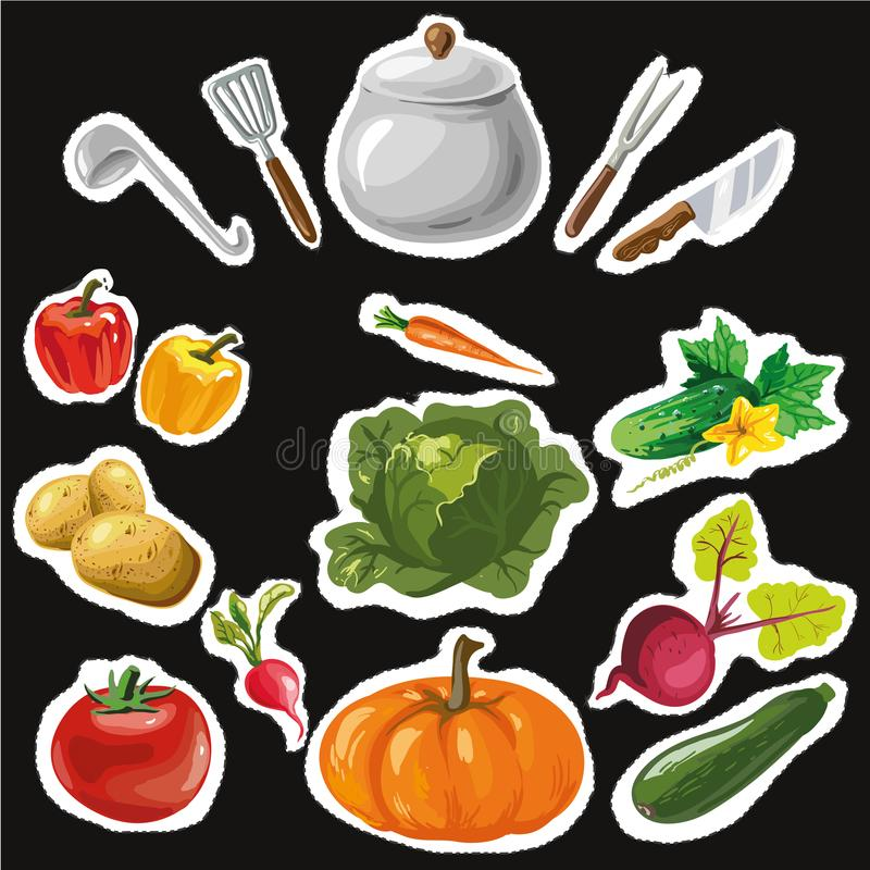 Reeks stickers met kleurrijke hand getrokken groenten Groot voor stickers, borduurwerk stock illustratie