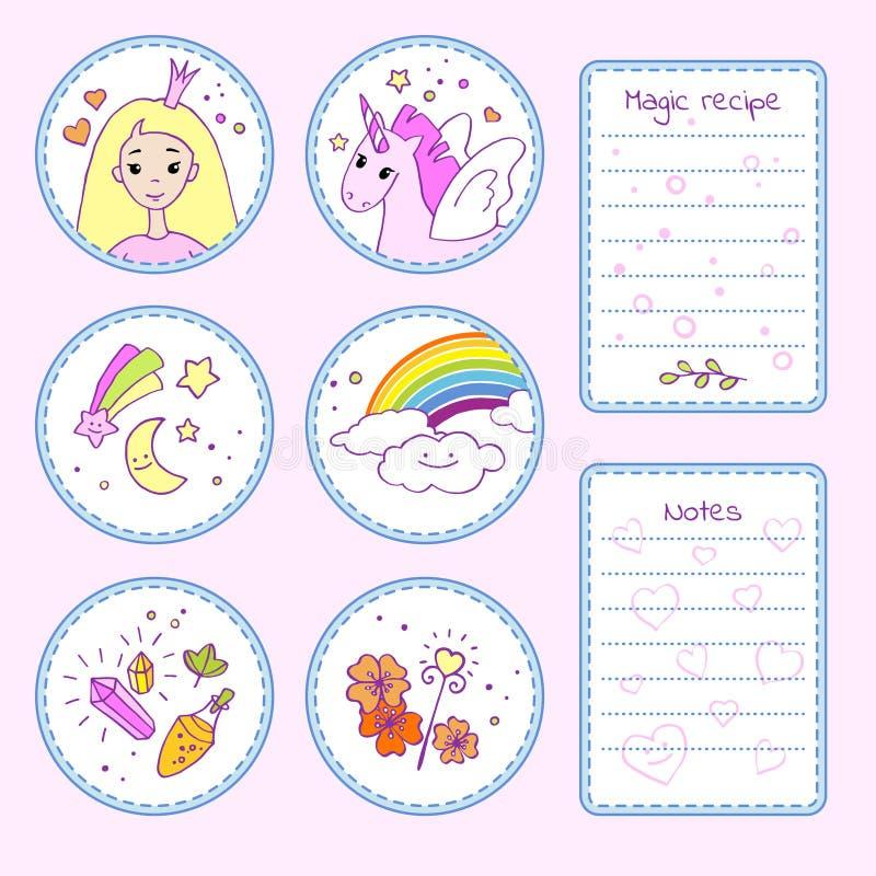 Reeks stickers met leuke beeldverhaalkarakters en magische punten vector illustratie