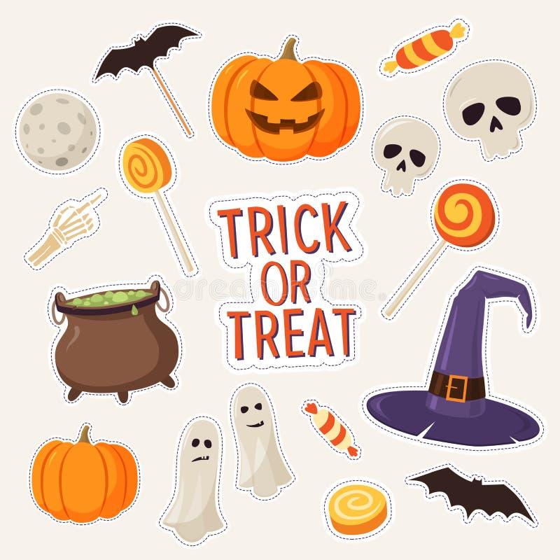 Reeks stickers op thema van Halloween: de schedels, spoken, het suikergoed, pompoenen, hoed en ketel de heksen, slaan royalty-vrije illustratie