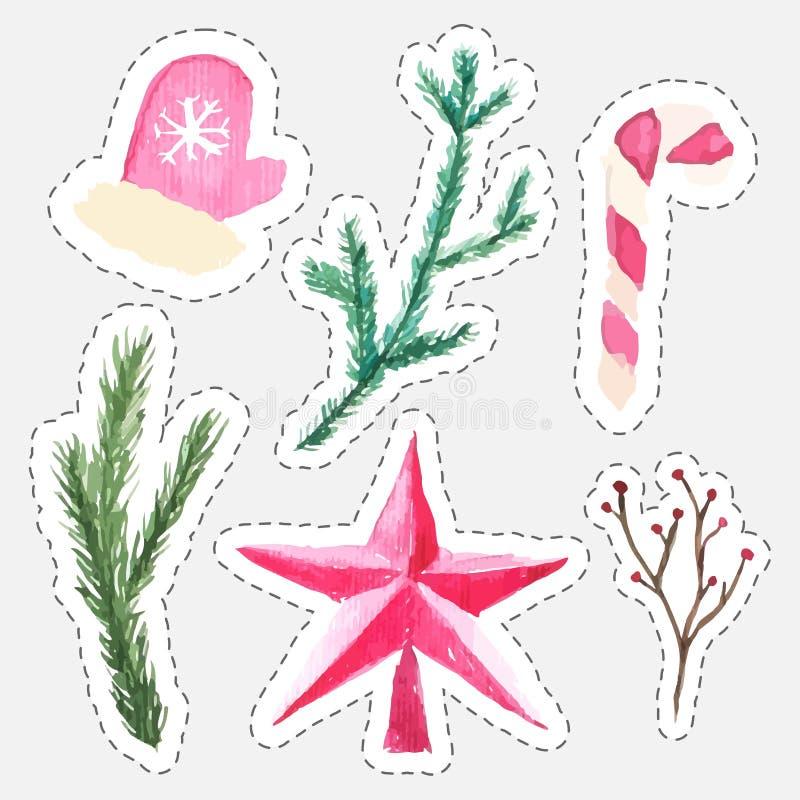 Reeks stickers van de Kerstmiswaterverf van ster, nette takken, bessen, het riet van het muntsuikergoed en vuisthandschoenen stock illustratie