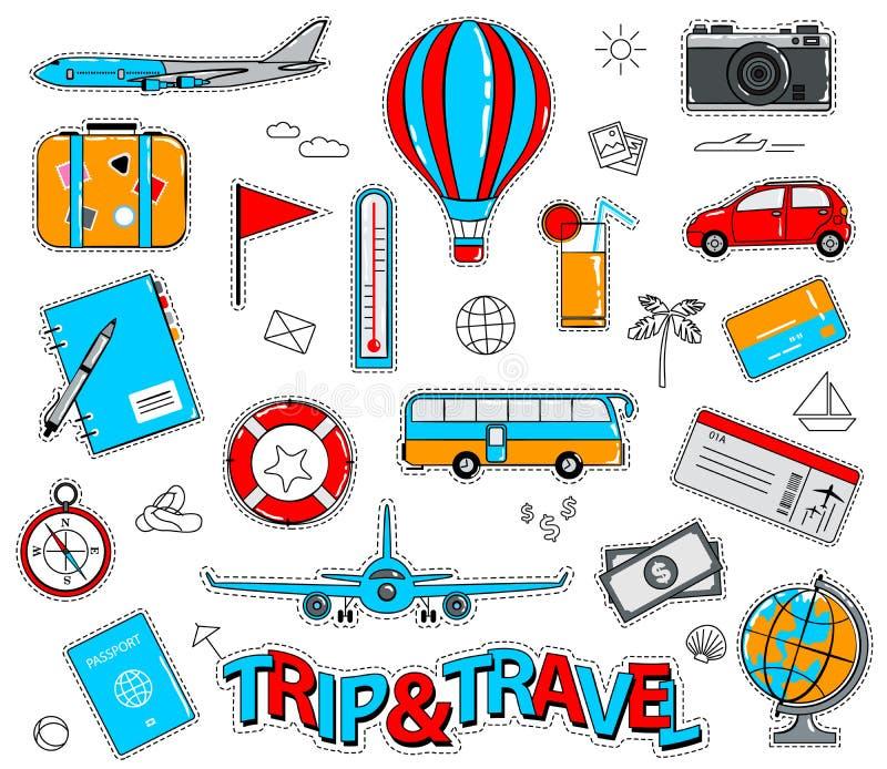 Reeks stickers van het reisbeeldverhaal in retro stijl vector illustratie