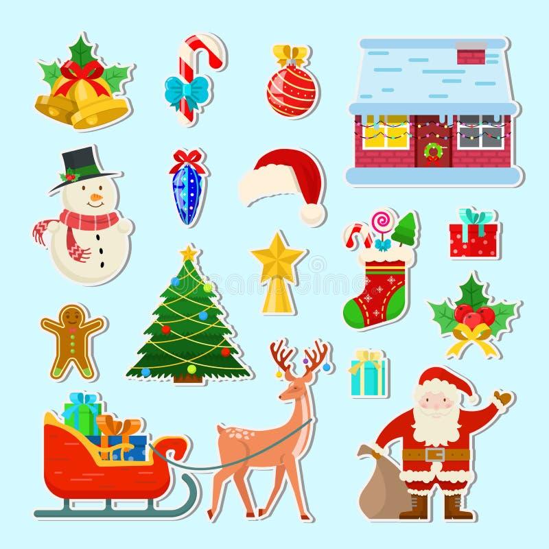Reeks stickers van Kerstmis vector illustratie