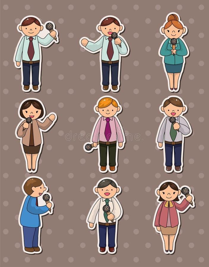 Reeks stickers van verslaggeversmensen royalty-vrije illustratie