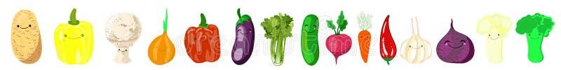 Reeks stickerskawaii of flarden met - groenten - tomaten, komkommers, radijzen, uien, pollock, aubergines, broccoli, selderie royalty-vrije illustratie