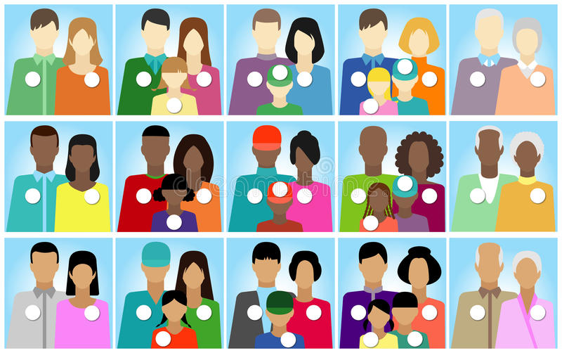 Reeks 15 stickersmensen, familie, electoraat stock illustratie