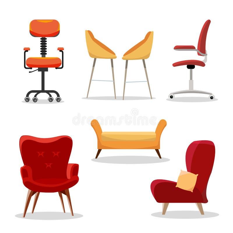 Reeks stoelen Comfortabele meubilairleunstoel en modern zetelontwerp in binnenlandse illustratie bedrijfs bureau-stoelen vector illustratie
