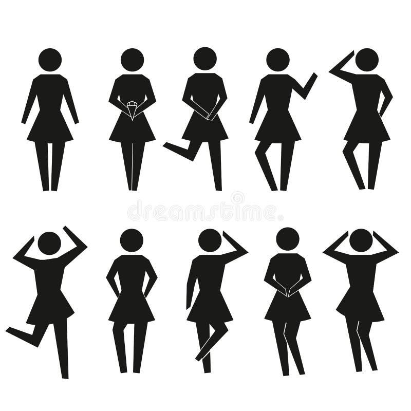 Reeks stokvrouwen Het silhouetinzameling van het stokmeisje Kan voor apps en websites gebruiken Vector illustratie stock illustratie
