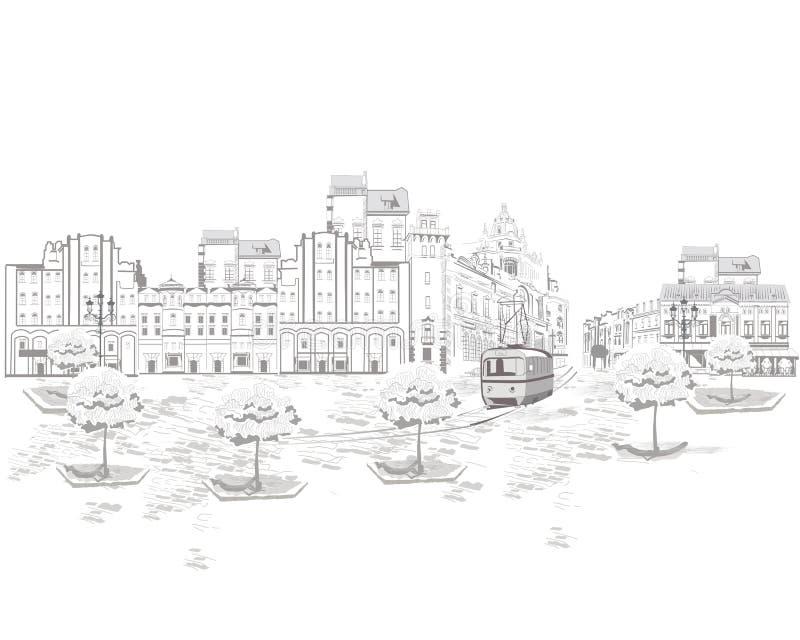 Reeks straatmeningen in de oude stad, oude huizen stock illustratie