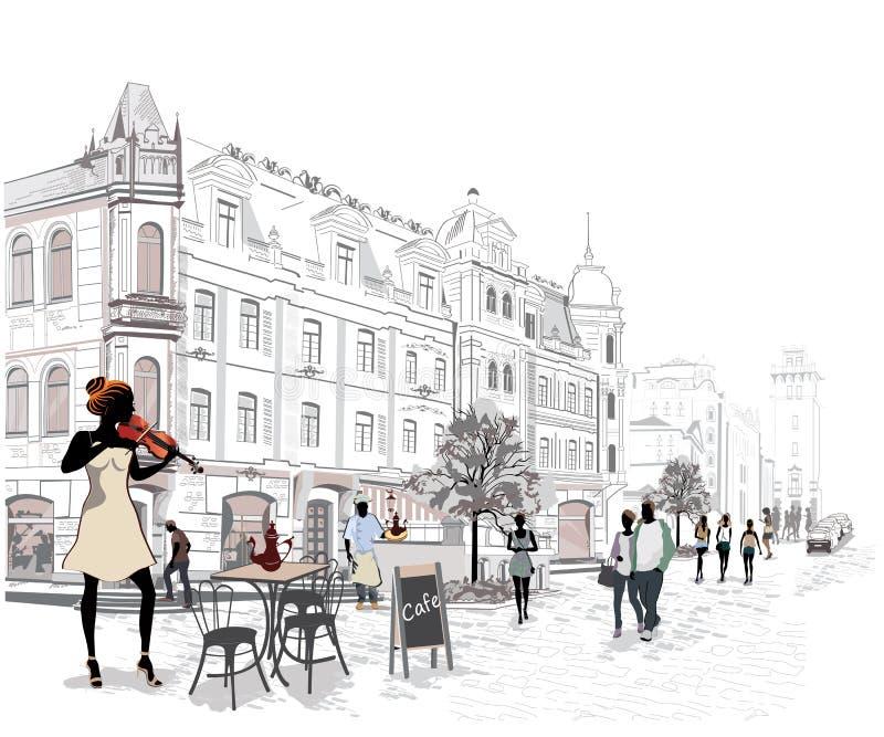 Reeks straten met mensen stock illustratie