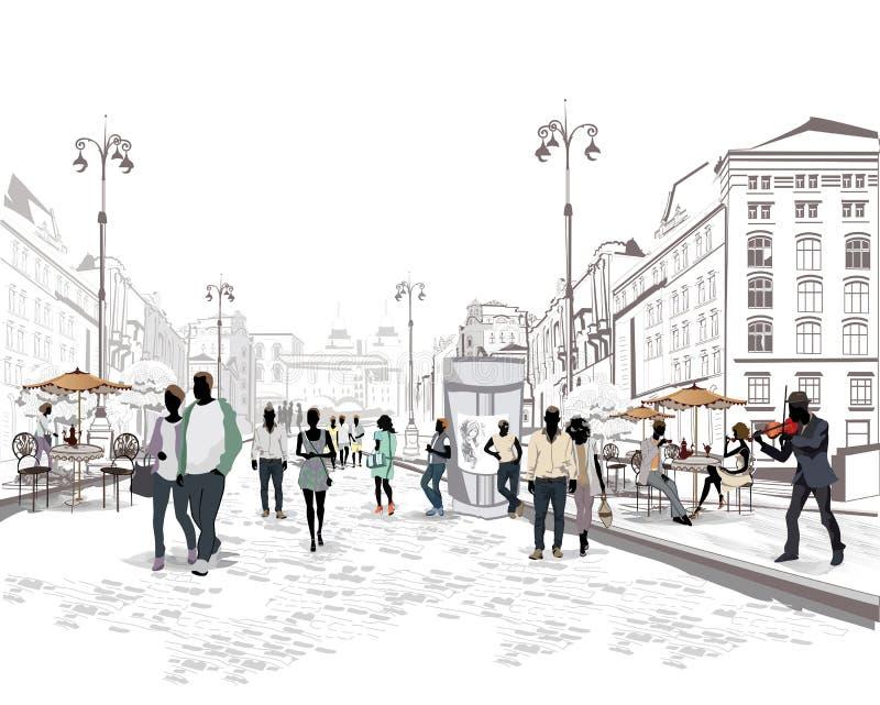 Reeks straten met mensen in de oude stad stock illustratie