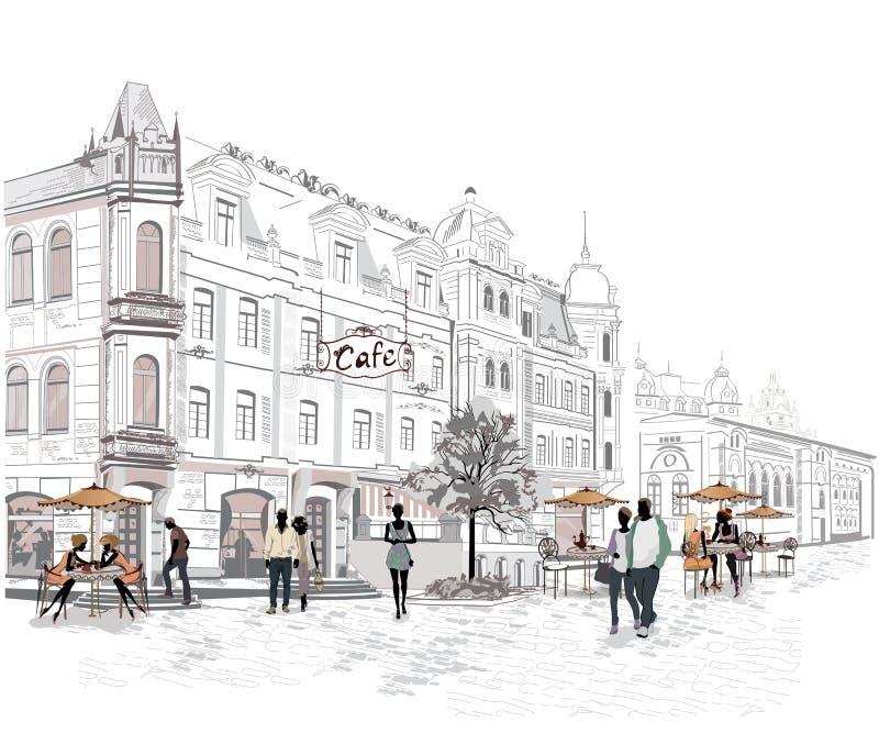 Reeks straten met mensen in de oude stad vector illustratie