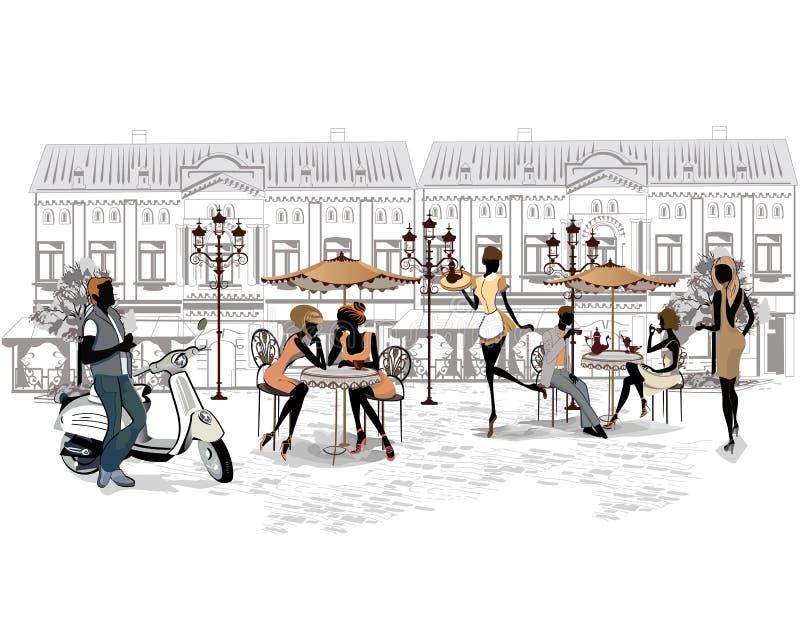 Reeks straten met mensen in de oude stad royalty-vrije illustratie