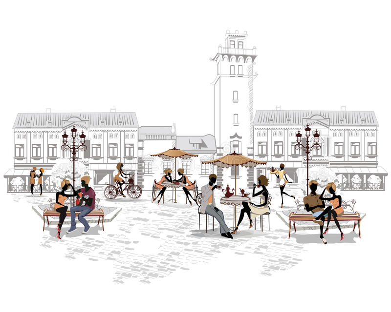 Reeks straten met mensen in de oude stad, straatkoffie stock illustratie