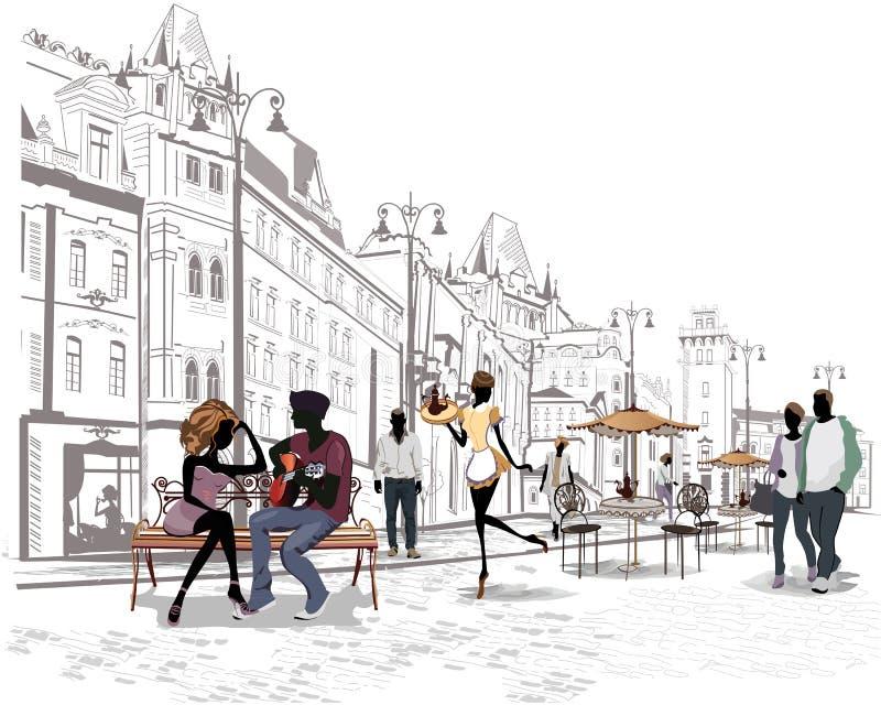 Reeks straten met mensen in de oude stad, straatkoffie royalty-vrije illustratie