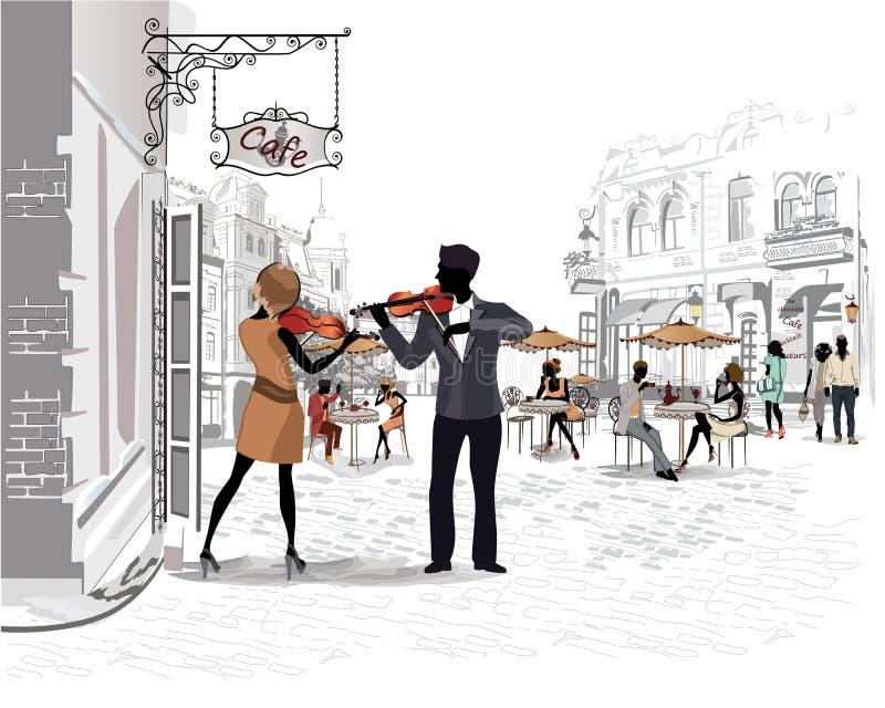 Reeks straten met mensen in de oude stad, straatmusici vector illustratie