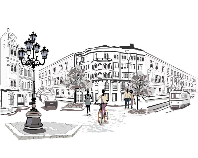 Reeks straten met mensen en musici vector illustratie