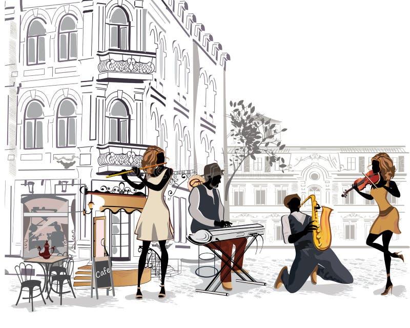 Reeks straten met musici in de oude stad royalty-vrije illustratie