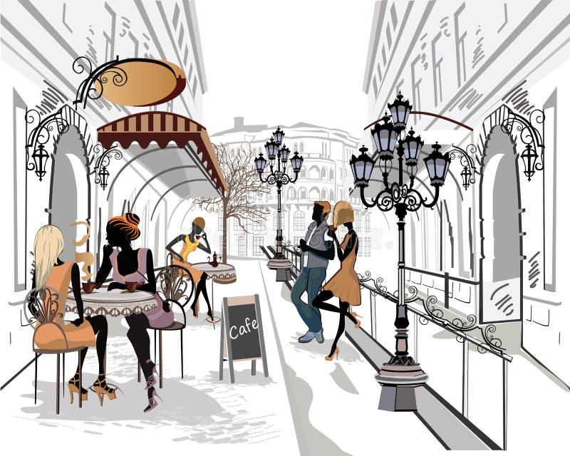 Reeks straten met musici in de oude stad stock illustratie
